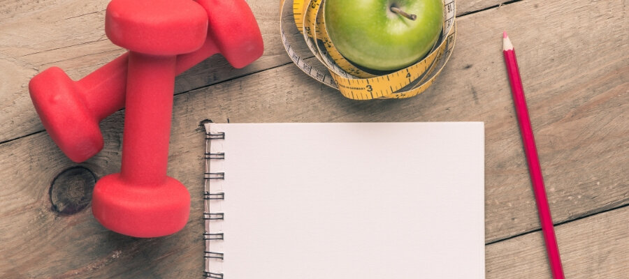 weights, apple, notepad